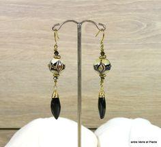 Longues BO perles au chalumeau, cristal et pendants en obsidienne noire sur attaches en niobium qualité +++ : Boucles d'oreille par fabienne-durelle