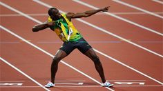 The fastest man in the world strikes his signature pose