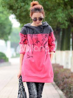 Fashion Buttons Long Pattern Cotton Blend Woman's Hoodie - Milanoo.com