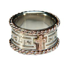 Custom Rose & White Gold Cross Wedding Band with Rope Trim Celtic Wedding Bands, Religious Wedding, Gold Ring Designs, Custom Wedding Rings, Gold Cross, Unique Weddings, Gold Rings, Rings For Men, White Gold
