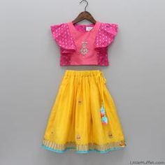 Pre Order: Pink Top With Yellow Lehenga Baby Girl Party Dresses, Dresses Kids Girl, Kids Outfits, Baby Girl Fashion, Toddler Fashion, Kids Fashion, Fashion Clothes, Fashion Dolls, Women's Fashion