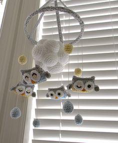 Owl crochet Mobile. $110.00, via Etsy.