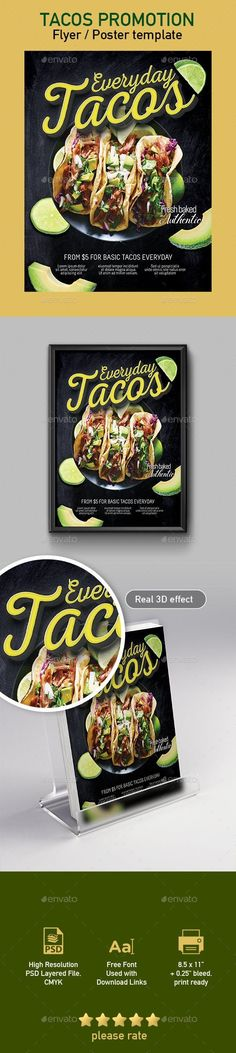 Buy Tacos Flyer / Poster Template by tunagaga on GraphicRiver. Commercial sale flyer / poster template suited for Tacos, Mexican cuisine restaurant… size poster template, e. Taco Restaurant, Restaurant Poster, Restaurant Menu Design, Brochure Food, Brochure Design, Flyer Design, Mexican Menu, Mexican Food Recipes, Flyer Poster