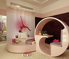 No Idea what this blog says, but this is such a cute contemporary little girls room.  Had to save it just because