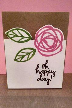Oh Happy Day Card by MeganBeth. #EssentialsbyEllen #PinSightsChallenge. #ellenhutsonllc #BoldBlooms