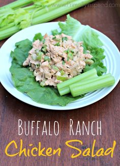 Easy, healthy and delicious is this Buffalo Ranch Chicken Salad recipe! Paleo, Gluten Free and Low Carb.