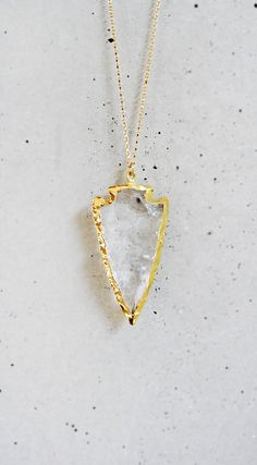 Crystal Quartz Arrowhead Necklace by keijewelry on Etsy