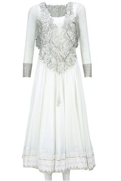 White embroidered jacket anarkali set available only at Pernia's Pop-Up Shop.