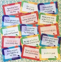 """How many more ways can you say """"I love you"""" with brand new Lunchbox Love? Here's just a few of the 100's of cards that let your child know how much they mean to you. #lunchnotes www.sayplease.com"""