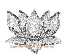 Spiritual Lotus Flower Drawing Word Picture Calligram, Karma Lotus Art in Typography Pen and Ink Illustration or Lotus Art Calligraphy. $19.50, via Etsy.