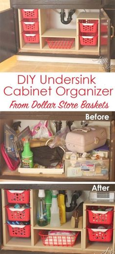 From a single sheet of plywood  and some dollar store bins she built this fabulous organizer. What a great way to use all that awkward space under the sink!   Undersink Cabinet Organizer with Pull Out Baskets.   via