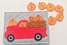 Counting pumpkin truck quiet book page can be added to other pages to create the perfect quiet book. Pickup truck has 3 different pockets to put the pumpkins. Pumpkins can be put in the pocket on the