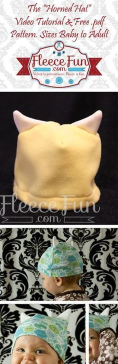 """DIY Fleece """"Horned"""" Hat tutorial.  The perfect  little hat for your little one.  You can use this for a quick costume on Halloween night or for a fun hat your child can wear anytime.  Get the free pattern here!"""