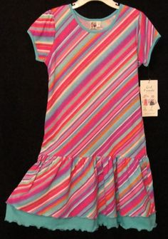 Anita G 100RB Drop Waist Hot Pink,Turq, Purple Stripe DressYoung Girls 7-16 NWT #AnitaG #CruiseDressyEveryday