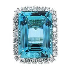 Aquamarine Diamond Platinum Ring | From a unique collection of vintage cocktail rings at https://www.1stdibs.com/jewelry/rings/cocktail-rings/