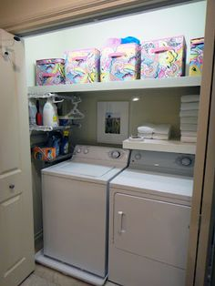 Worth Pinning: Laundry & Linen Closet Project. Looks just like my little area! now I know what to do with it!