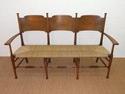 Arts & Crafts William Birch Ash Settee Condition: Fully restored, refinished Origin: British Circa 1900