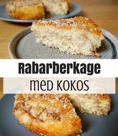 Vildt god rabarberkage med kokos - en forrygende kombination, der med garanti bliver en succes.