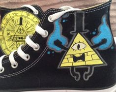 Gravity falls custom converse by KivadenoCustoms on Etsy Más Cool Converse, Custom Converse, Custom Shoes, Converse All Star, Converse Shoes, Converse Style, Gravity Falls Cosplay, Mode Kawaii, Fall Birthday