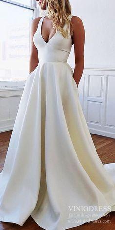 Simple Ivory Satin V-Neck Wedding Dress With Bow Knot - . - Simple Ivory Satin V-Neck Wedding Dress With Bow Knot – Wedding – dress - Wedding Dress With Pockets, V Neck Wedding Dress, Dress With Bow, The Dress, Dress Long, Knot Dress, Dress Girl, V Neck Dress, Silk Dress
