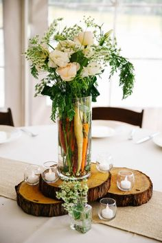 Vegetable-flower centerpieces in this food inspired wedding | Photo by Rose Street Studio