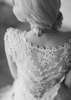 Great detailing on the back of this dress.   #wedding, #wedding dress, #lace, #white