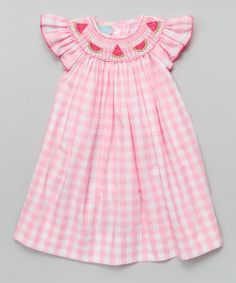 Pink Gingham Watermelon Bishop Dress