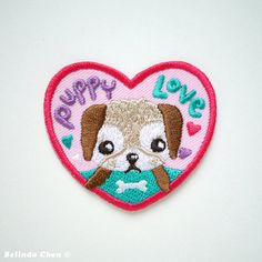 Puppy Love Iron On Patch by BelsArt on Etsy