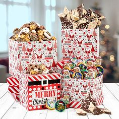 Be Merry Christmas Santa Gourmet 3 Tier Tower For Holiday Gifting Chocolate Cover Pretzel, Peppermint Bark Gift Basket