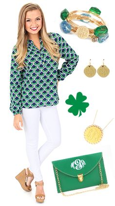 St. Patrick's is right around the corner! Get your outfit ready with these GREEN items! Clothing from Mondaydress.com - accessories from marleylilly.com! #stpatricks #stpattys #gogreen #green