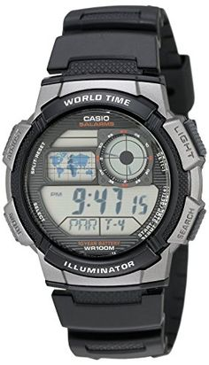 Casio Men's Silver-Tone and Black Digital Sport Watch - Casio Men's Silver-Tone and Black Digital Sport Watch Digital Analog hand format, large dial, 10 year battery, 5 alarmsWorld time cities), 24 hour stop Casual Watches, Cool Watches, Watches For Men, Thing 1, Mans World, Sport Watches, Gps Watches, Wrist Watches, Digital Watch