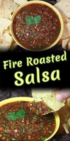 restaurant style Fire Roasted Salsa - The most amazing restaurant style salsa can be made in your own kitchen! 5 minute prep, a few ingredients and a food processor or blender. Red Salsa Recipe, Roasted Salsa Recipe, Roasted Tomato Salsa, Roasted Tomatoes, Mexican Salsa Recipes, Mexican Dishes, Hot Sauce Recipes, Vegan Recipes, Vegan Sauces