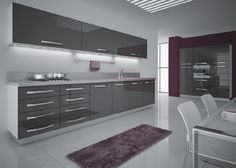 Slick high gloss charcoal mdf kitchen from DBuzzGroup