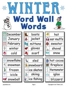 30 FREE Printable Winter Word Wall Words! These fun winter themed words are perfect for preschool, kindergarten, and first grade literacy centers, matching games and more. Get all 30 printable winter word wall words here --> https://www.mpmschoolsupplies.com/ideas/7887/30-free-winter-word-wall-words/