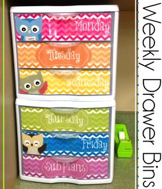 Owl Weekly Drawers and More! Love this person's organization ideas and color scheme!