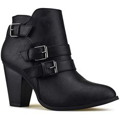 Premier Standard - Women's Buckle Strap Block Heel Ankle Booties, TPS Camila-64 v4 Black Size 8.5