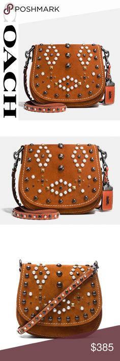 """Coach 1941 Suede WESTERN Rivets Saddlebag 17 NWT Punk gone West! Coach's design team took a vintage, Western-inspired pattern and gave it a modern luxury edge with pearl cabochons and polished gunmetal rivets—each one applied by hand on the new Saddle Bag 17, a perfectly petite version of an iconic design, crafted in soft, velvety suede 