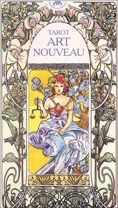 Tarot - Art Nouveau. (Frau, Sommer, Blumen, Lilie, Lilien, Rahmen)