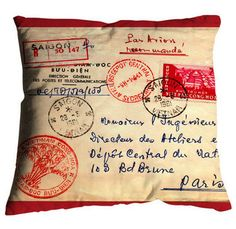 pillows, bags and purses, accessories, gift - Hello My Pillow - Bonjour Mon Coussin Sewing Crafts, Sewing Projects, Craft Projects, Going Postal, Needlepoint Pillows, Travel Themes, Pillow Talk, Mail Art, Envelopes