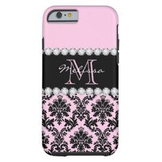 Baby Pink Cream black floral Damask diamonds Tough iPhone 6 Case - monogram gifts unique design style monogrammed diy cyo customize