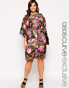 ASOS+CURVE+Fringed+Kimono+Dress+In+Floral