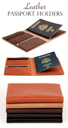 Leather Passport Holders - Hand Made in small batched in Detroit - cute for a Mother's Day or Father's Day, birthday, or going away #gift #present #travel