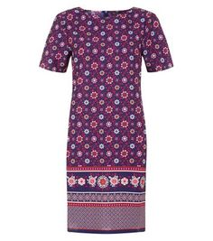 Make a statement this summer with this border tunic dress, simply add platform heels to finish.- Simple short sleeves- Rounded neckline- Casual fit- All over print- Mini length- Model is and wears UK 6 Day Dresses, Evening Dresses, Blue Tiles, Border Print, Dress Collection, New Dress, Short Sleeve Dresses, Short Sleeves, Work Wear