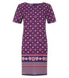 New Look: Blue Tile Border Print Tunic Dress