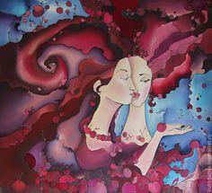 Купить Платок шелковый Батик Вишни - рисунок, вишня, вишни, вишневый, платок, шелковый платок