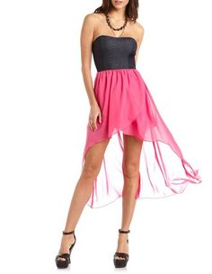 Charlotte Russe Strappy Back Hi-Low Tube Dress