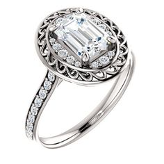 1.0 Ct Emerald Diamond Engagement Ring 14k White Gold – Goldia.com