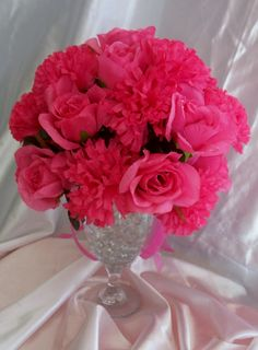 Hot pink rose & carnation centerpieces that I made