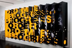 3D Type - Installation: from one side you see one graphic, from the other side you see another @Jeff Ward
