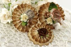 Paper Rosette Flowers - Handmade Scrapbooking Embellishment - 3 Pieces - 01097 Handmade Flowers, Diy Flowers, Paper Flowers, Bloom Where Youre Planted, Christmas Makes, Christmas Ideas, Paper Rosettes, Flower Crafts, Flower Art